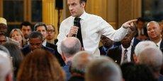 Emmanuel Macron lors d'une réunion organisée dans le cadre du Grand débat national.
