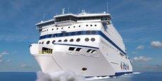 Le Honfleur, premier navire de la Brittany Ferries propulsé au GNL.