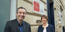 Jean-François Faure, dirigeant d'Aucoffre.com et de Veracash, et Brigitte de Faultrier, directrice du campus de l'ESSCA à Bordeaux