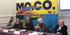De gauche à droite : S. Truchot (agence PCA-STREAM), N. Bourriaud (MoCo), P. Saurel (Métropole), V. Bruno (MoCo, B. Lavier (artiste).