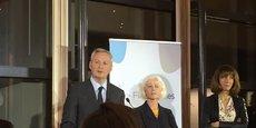 Le ministre de l'Economie et des Finances Bruno Le Maire lors de son discours d'ouverture aux côtés de Agnès Tran-Pommel et Corinne Trocellier, vice-présidentes du réseau Financi'Elles.
