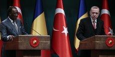 Le président tchadien Idriss Déby Itno et son homologue turc Recep Tayyip Erdogan, lors de la conférence de presse conjointe tenue mercredi 27 février à Ankara.
