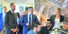 Le Premier ministre, Edouard Philippe, en visite dans les locaux de la Digitale Académie de Montereau-Fault-Yonne, en juillet 2017.