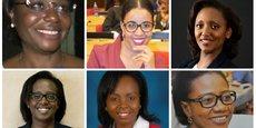 De gauche à droite en partant du haut : Judith Yah Sunday Achidi, Frehiwot Tamiru, Yvonne Makolo, Diane Karusisi, Mary Jane Mwangi et Andrée Akoumany.