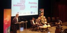 Laurent Lepouder, président d'Invest in Bordeaux, Nicolas Florian, maire de Bordeaux, Patrick Bobet, président de Bordeaux Métropole, et Bernard Uthury, vice-président de la Région Nouvelle-Aquitaine.