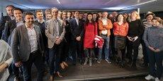 Les responsables et entrepreneurs des Capitales French Tech, aux côtés de Kat Borlongan (directrice de la mission French Tech); le 3 avril à Paris
