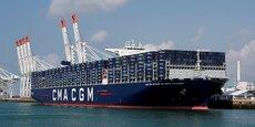 Le porte-containeurs Antoine Saint Exupery au port du Havre.