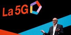 Stéphane Richard, le Pdg d'Orange,pendant son discours à l'Orange Business Summit, à Paris, ce jeudi 18 avril 2019.