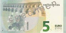 Le verso du nouveau billet de 5 euros de la série Europe. Copyright DR