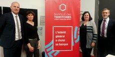 De gauche à droite : Rémi Heurlin (directeur délégué Banque des territoires Bordeaux), Laurence Noyer (directrice interrégionale Scet) Annabelle Viollet (directrice régionale adjointe CDC Nouvelle-Aquitaine) et Jean-Baptiste Desanlis (directeur interrégional CDC habitat).