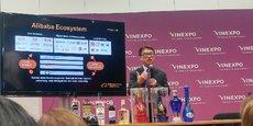 Mike Hu, le président de Tmall, le site e-commerce généraliste du géant chinois Alibaba, a présenté sa stratégie à Vinexpo Bordeaux, le 14 mai 2019.