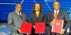 Albert Muchanga, Commissaire au commerce et à l'industrie à l'UA ; Soraya Hakuziyaremye, ministre du Commerce et l'industrie du Rwanda ; et Benedict Oramah, président d'Afreximbank.