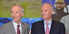 Jean-Dominique Senard et Florent Menegaux lors de l'assemblée générale actionnaires Michelin 2019