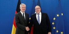 Le ministre de l'Economie allemand Peter Altmaier et son homologue français Bruno Le Maire. Les deux ministres ont présenté en février un « Manifeste franco-allemand pour une politique industrielle adaptée au XXIe siècle ».