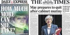 Combien peut-elle encore supporter ? titre le Daily Express avec une photo prise au zoom de la Première ministre les larmes aux yeux, tandis que le Times titre sur la rébellion de son gouvernement, la goutte de trop qui pourrait la conduire à jeter l'éponge, demain pense savoir  le quotidien britannique.