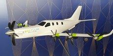 Airbus, Daher et Safran ont présenté au premier jour du salon du Bourget la maquette d'Ecopulse, un démonstrateur d'avion hybride à propulsion distribuée.
