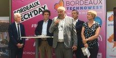 François Baffou, directeur général de Bordeaux Technowest, au centre, lors d'un événement Bordeaux Tech'Day.