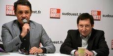 A Sud Ouest depuis 1990 Patrick Venries, à gauche, a remplacé Olivier Gérolami (à droite) à la tête de Groupe Sud Ouest depuis mai dernier.