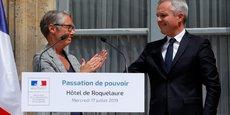 Elisabeth Borne et François de Rugy lors de la passation de pouvoir au ministère de la Transition écologique et solidaire, mercredi 17 juillet.