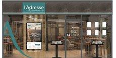 La nouvelle façade des agences du réseau L'Adresse qui sera déployée à partir du 15 septembre.