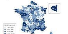 La part de la population résidant dans une commune équipée d'au moins un distributeur automatique de billets varie entre 39,7% et 100% selon les départements : Creuse, Haute-Saône, Meuse, Lot et Yonne présentent les taux les plus bas.