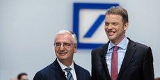 Le directeur général de Deutsche Bank, Christian Sewing (à droite), avec le président du conseil de surveillance, Paul Achleitner, lors de l'assemblée générale en mai 2019.