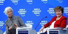 Christine Lagarde avec Kristalina Georgieva au Forum de Davos en janvier 2019.