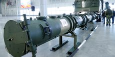 Le 9M729 (SSC-8 pour l'OTAN) est l'un des plus récents missiles de croisière de la Russie, partie du système de missile opérationnel tactique Iskander-M. Il est présenté ici à la presse par le ministère de la Défense à l'Expocentre du Patriote, près de Moscou, le 23 janvier 2019. Le Burevestnik 9M730 (SSC-X-9 Skyfall pour l'OTAN) est le futur missile de croisière à propulsion nucléaire, encore à l'état expérimental. Il serait doté d'une vitesse subsonique et d'un rayon d'action illimité.