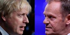 Le Premier ministre britannique Boris Johnson (à droite) s'est vu opposé, ce mardi 20 août, une fin de non-recevoir de la par le président du Conseil européen Donald Tusk (à droite) au sujet du backstop.