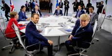 Réunion des dirigeants du G7 à Biarritz ce dimanche 25 août : Emmanuel Macron, Angela Merkel, Justin Trudeau, Boris Johnson, Donald Tusk (Conseil européen), Giuseppe Conte, Shinzo Abe, Donald Trump.