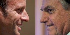 Le conflit qui oppose Emmanuel Macron à Jair Bolsonaro depuis quelques jours vient dégrader des relations franco-brésiliennes déjà tendues. Charles Platiau, Mauro Pimentel/AFP