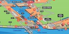 Le Bassin à flot N°1 (entrée droite) et le slipway en bas de l'image à droite (entre 41 et 40)  sont les nouvelles bases de Yacht Solutions.