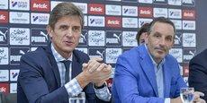 Frédéric Longuépée et Joseph Dagrosa lors de la présentation de la nouvelle stratégie RSE du club.