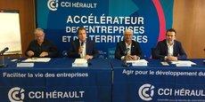 André Deljarry, président de la CCI 34, entouré de ses vice-présidents