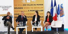 Le 7 octobre lors du Sommet du Pacte de Milan à Montpellier : Damien Conaré (chaire Unesco Alimentation du monde Montpellier Supagro), Philippe Saurel (maire et président de la Métropole de Montpellier), Cécile Michel (Pacte de Milan) et Mylène Fourcade (Métropole de Montpellier).