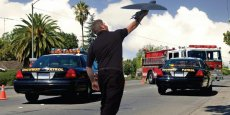 Les services de police en intervantion utilisant le drone Maveric / DR