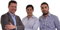 De gauche à droite les 3 cofondateurs d'UnEmplacement.com : Aurélien Tert (CEO), Philippe Phak (CTO) et Kevin Espiard (COO).