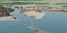 Vue d'artiste du projet d'extension portuaire, avec notamment le projet de ferme d'éoliennes off-shore