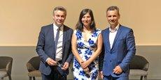 Pascal Dumont (à g.), Directeur commercial Investisseurs Institutionnels, Adina Grigoriu (au centre) et Olivier Hiezely (à dr.), cofondateurs.