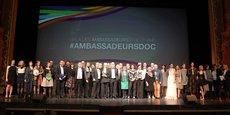 Tous les lauréats, partenaires et organisateurs du Gala 2019 réunis sur la scène de l'Opéra Comédie