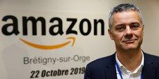 Frédéric Duval, Directeur général d'Amazon France, lors d'une visite de presse au centre de distribution de Brétigny-sur-Orge, le 22 octobre 2019.