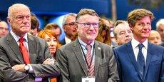 Patrick Seguin entre Alain Rousset (président de Nouvelle-Aquitaine), à gauche, et Nicolas Florian (maire de Bordeaux) lors de l'inauguration de Vinexpo Bordeaux 2019.