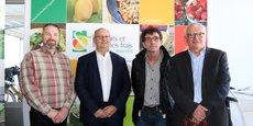 Sébastien Héraud, à gauche, le président du nouveau Comité régional d'Interfel Nouvelle-Aquitaine, et les membres du bureau (Jean-Hugues Belland, Jean-Louis Chapeyroux et Alain Tregret).