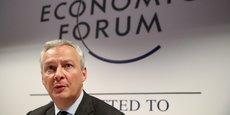 Le ministre des Finances Bruno Le Maire lors d'une conférence de presse ce mercredi 22 janvier, au Forum économique mondial de Davos (Suisse).