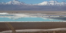 Vue du site de San Pedro De Atacama, au Chili, où opère la compagnie SQM pour extraire le lithium utilisé notamment dans les batteries.