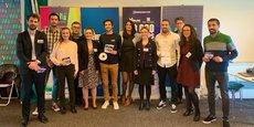 Le jury et les lauréats de l'étape parisienne du prix 10000 startups pour changer le monde 2020.