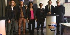 Olivier Giorgiucci (FRTP), Frédéric Wilms (Eurovia), Sarah Sanchez (GEIQ Hérault), un bénéficiaire du programme Hope, Laurent Cueille (AFPA Nîmes) et Philippe Blachère (Pôle Emploi)