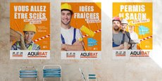 Les affiches de promotion de l'édition 2020 d'Aquibat qui se tiendra du 26 au 28 février à Bordeaux.