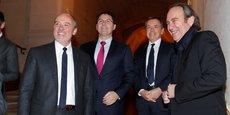 De gauche à droite: Stéphane Richard (PDG d'Orange), Olivier Roussat (DG délégué de Bouygues et président du conseil d'administration de Bouygues Telecom), Alain Weill (PDG d'Altice France/SFR) et Xavier Niel (propriétaire d'Iliad/Free).