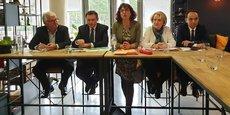 P. Ceccotti, O. Torrès, M.-T. Mercier, B. Roussel-Galiana et M. Benali présentent les priorités économiques de P. Vignal